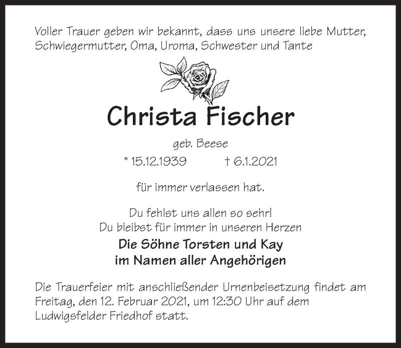 Traueranzeige für Christa Fischer vom 09.01.2021 aus Märkischen Allgemeine Zeitung