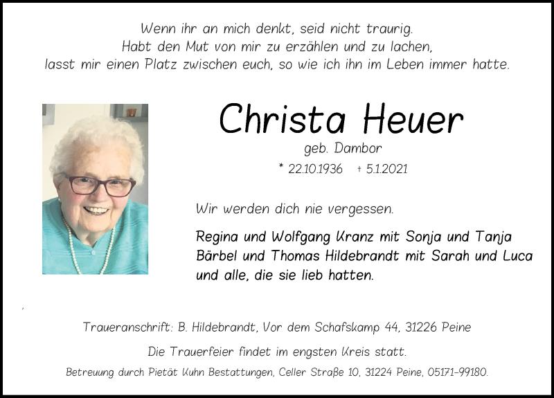 Traueranzeige für Christa Heuer vom 09.01.2021 aus Peiner Allgemeine Zeitung