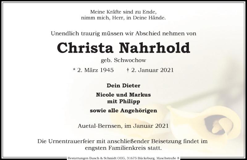 Traueranzeige für Christa Nahrhold vom 09.01.2021 aus Schaumburger Nachrichten