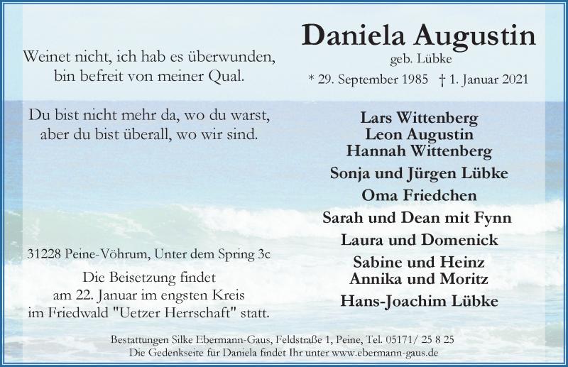 Traueranzeige für Daniela Augustin vom 09.01.2021 aus Peiner Allgemeine Zeitung