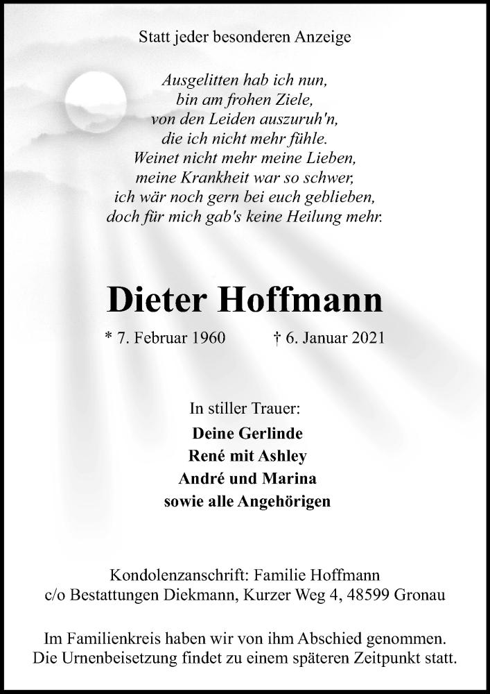 Traueranzeige für Dieter Hoffmann vom 09.01.2021 aus Ostsee-Zeitung GmbH