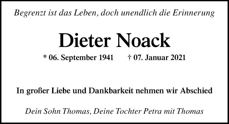 Traueranzeige für Dieter Noack vom 23.01.2021 aus Leipziger Volkszeitung