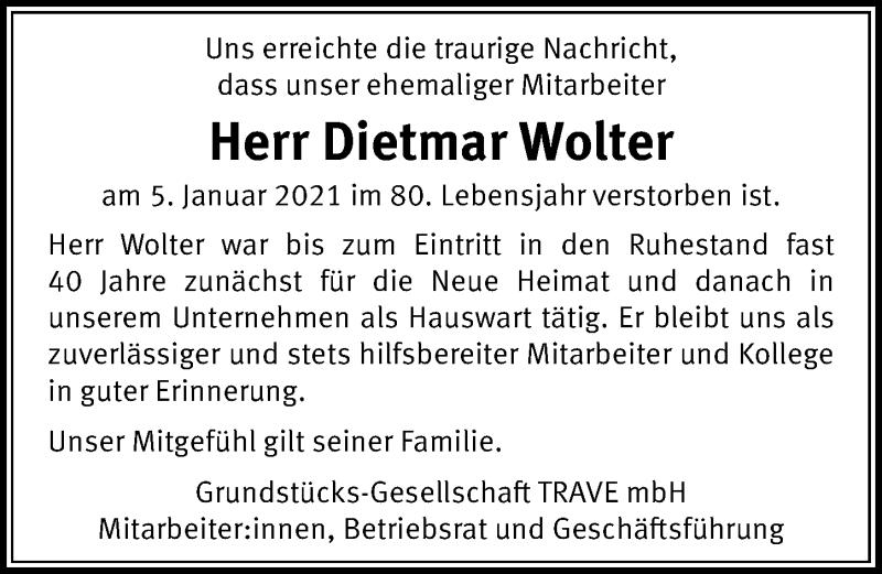 Traueranzeige von  Dietmar Wolter
