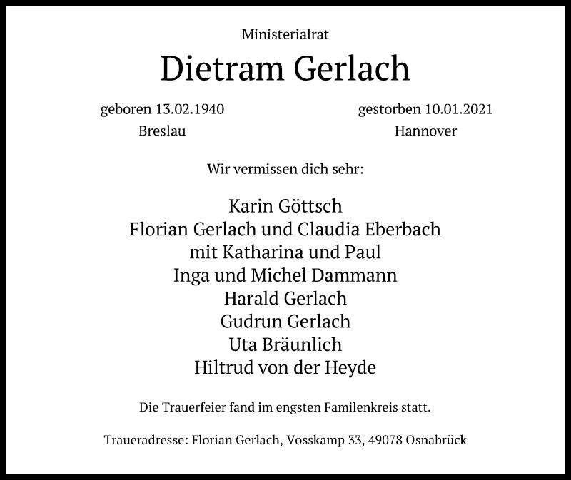 Traueranzeige für Dietram Gerlach vom 30.01.2021 aus Hannoversche Allgemeine Zeitung/Neue Presse