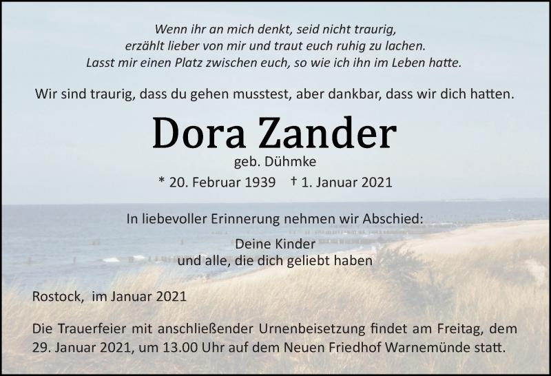 Traueranzeige für Dora Zander vom 09.01.2021 aus Ostsee-Zeitung GmbH