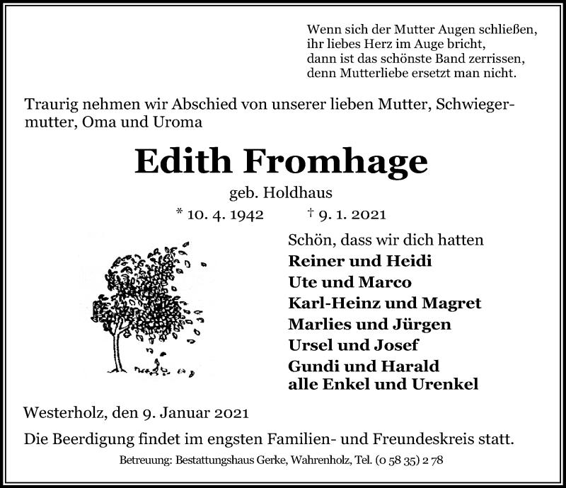 Traueranzeige für Edith Fromhage vom 13.01.2021 aus Aller Zeitung