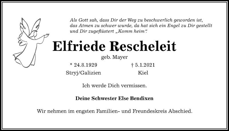 Traueranzeige für Elfriede Rescheleit vom 09.01.2021 aus Kieler Nachrichten