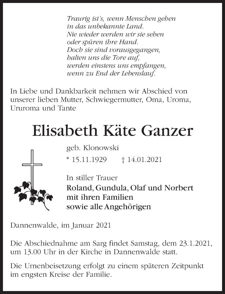 Traueranzeige für Elisabeth Käte Ganzer vom 16.01.2021 aus Märkischen Allgemeine Zeitung