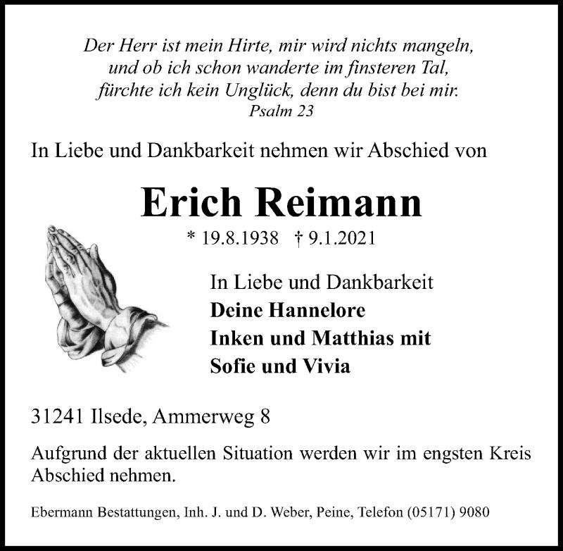 Traueranzeige für Erich Reimann vom 12.01.2021 aus Peiner Allgemeine Zeitung