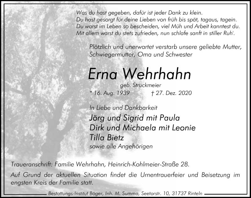 Traueranzeige für Erna Wehrhahn vom 02.01.2021 aus Schaumburger Nachrichten