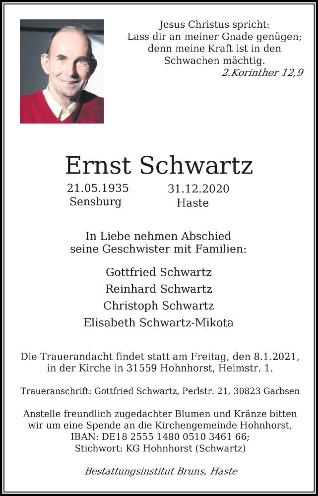 Traueranzeige für Ernst Schwartz vom 06.01.2021 aus Schaumburger Nachrichten