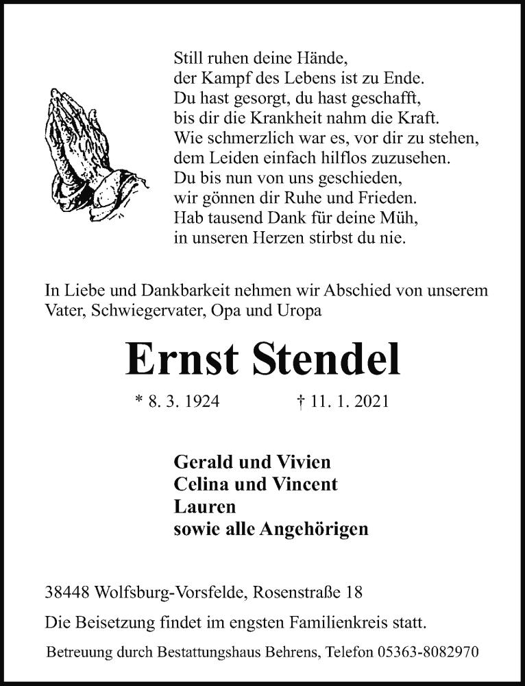 Traueranzeige für Ernst Stendel vom 14.01.2021 aus Aller Zeitung