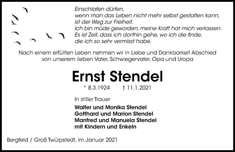 Traueranzeige für Ernst Stendel vom 16.01.2021 aus Aller Zeitung