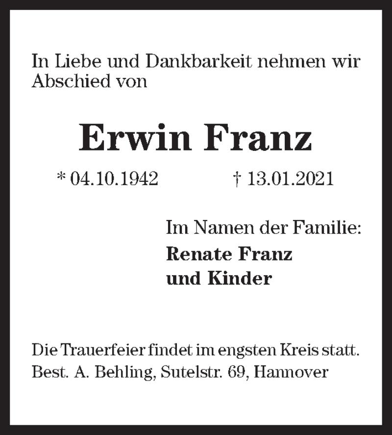 Traueranzeige für Erwin Franz vom 16.01.2021 aus Hannoversche Allgemeine Zeitung/Neue Presse
