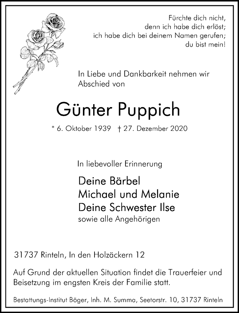 Traueranzeige für Günter Puppich vom 09.01.2021 aus Schaumburger Nachrichten