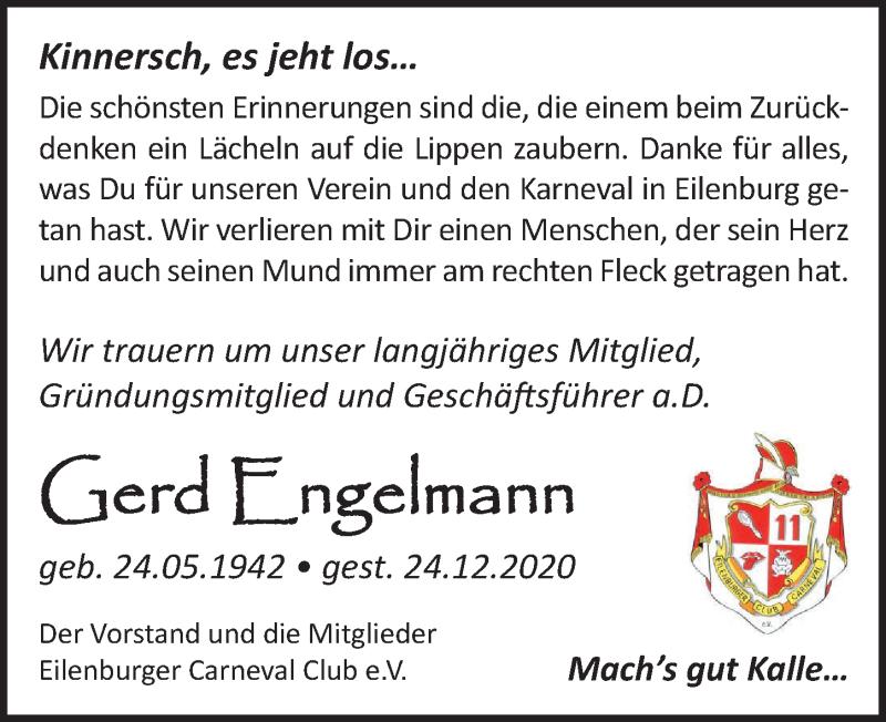 Traueranzeige für Gerd Engelmann vom 09.01.2021 aus Leipziger Volkszeitung