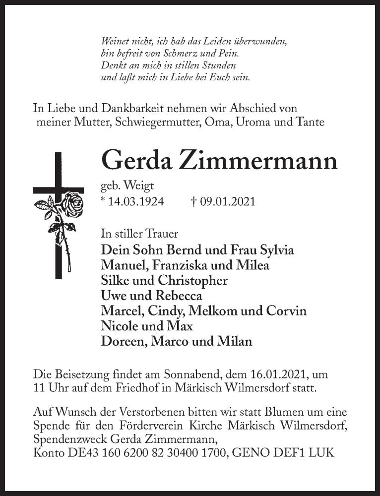 Traueranzeige für Gerda Zimmermann vom 13.01.2021 aus Märkischen Allgemeine Zeitung