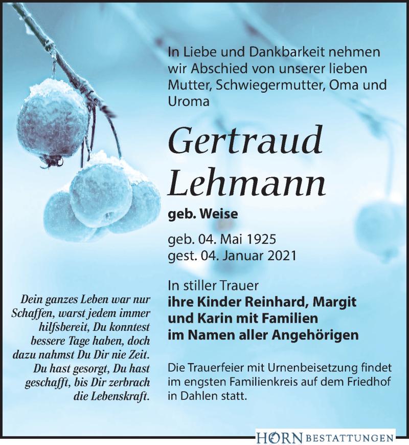 Traueranzeige für Gertraud Lehmann vom 09.01.2021 aus Leipziger Volkszeitung