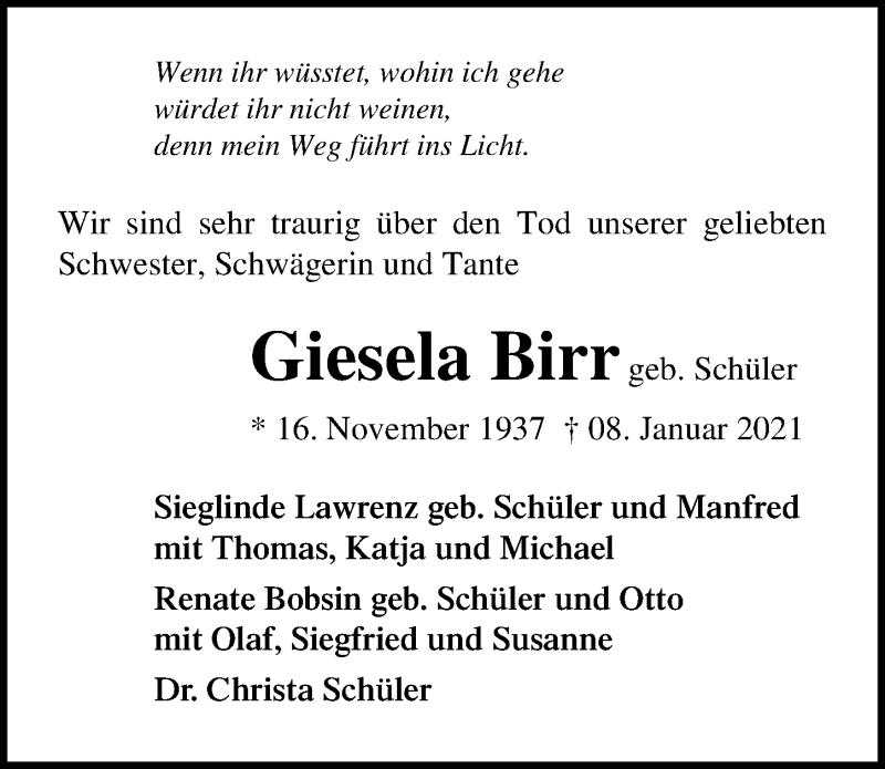 Traueranzeige für Giesela Birr vom 13.01.2021 aus Ostsee-Zeitung GmbH