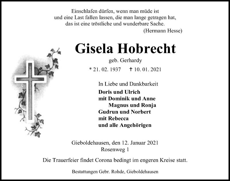 Traueranzeige für Gisela Hobrecht vom 12.01.2021 aus Eichsfelder Tageblatt