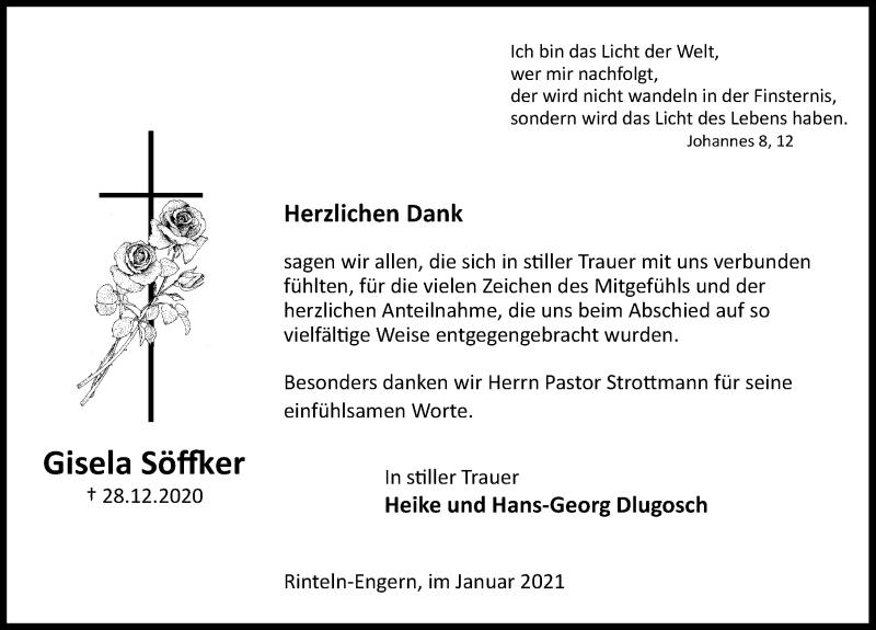 Traueranzeige für Gisela Söffker vom 16.01.2021 aus Schaumburger Nachrichten