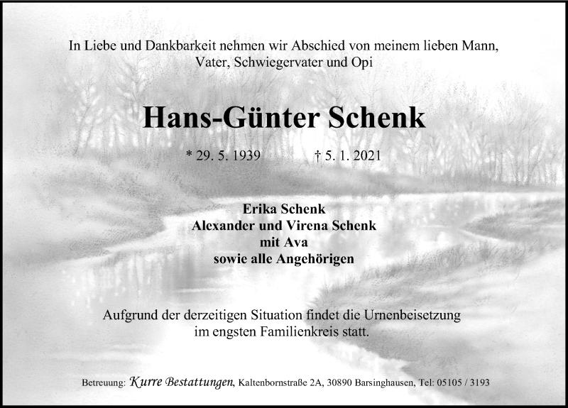 Traueranzeige für Hans-Günter Schenk vom 09.01.2021 aus Hannoversche Allgemeine Zeitung/Neue Presse