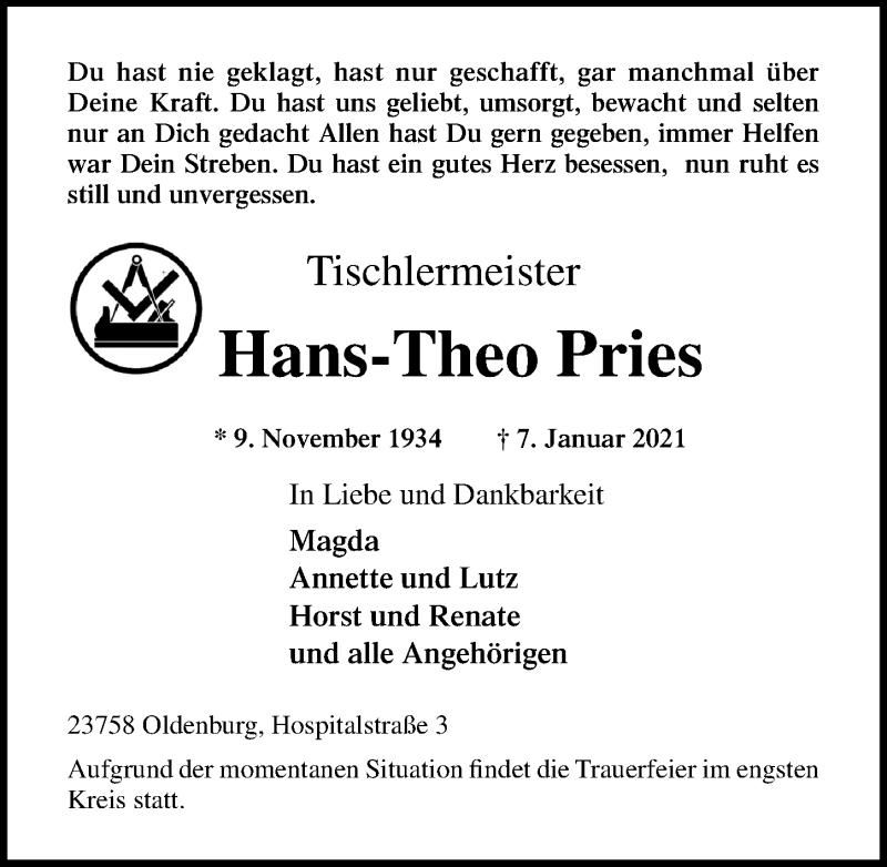 Traueranzeige für Hans-Theo Pries vom 13.01.2021 aus Lübecker Nachrichten