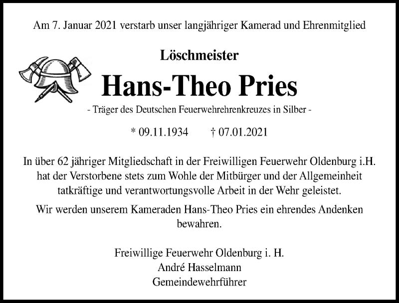 Traueranzeige für Hans-Theo Pries vom 19.01.2021 aus Lübecker Nachrichten