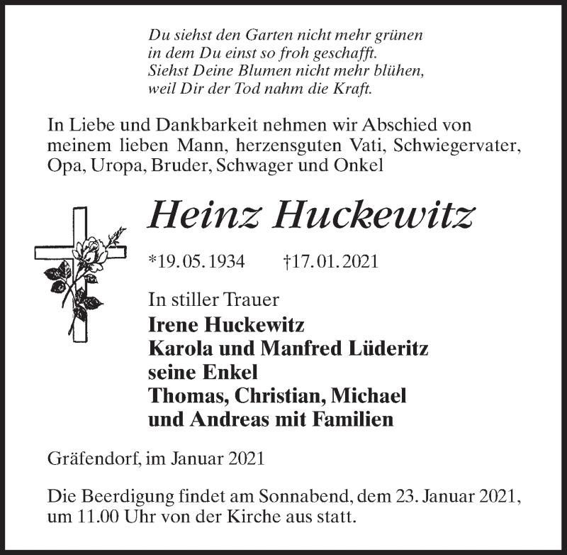 Traueranzeige von  Heinz Huckewitz