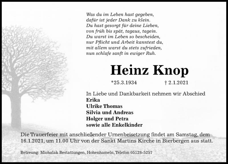 Traueranzeige für Heinz Knop vom 12.01.2021 aus Peiner Allgemeine Zeitung