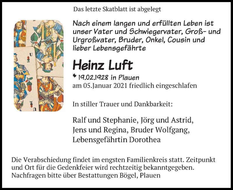 Traueranzeige für Heinz Luft vom 09.01.2021 aus Leipziger Volkszeitung
