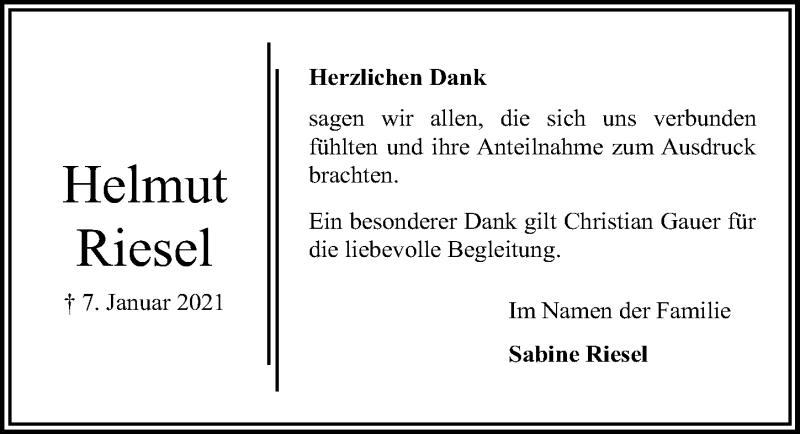 Traueranzeige für Helmut Riesel vom 24.01.2021 aus Lübecker Nachrichten