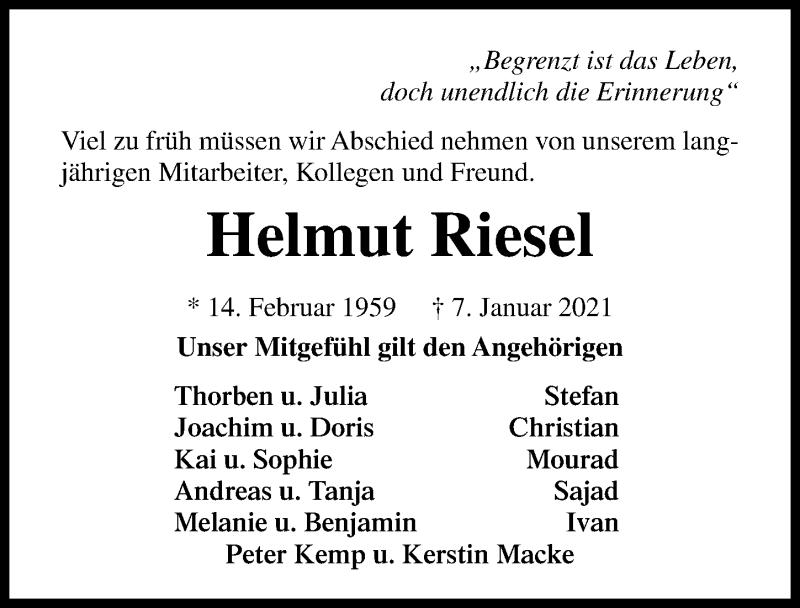 Traueranzeige für Helmut Riesel vom 13.01.2021 aus Lübecker Nachrichten