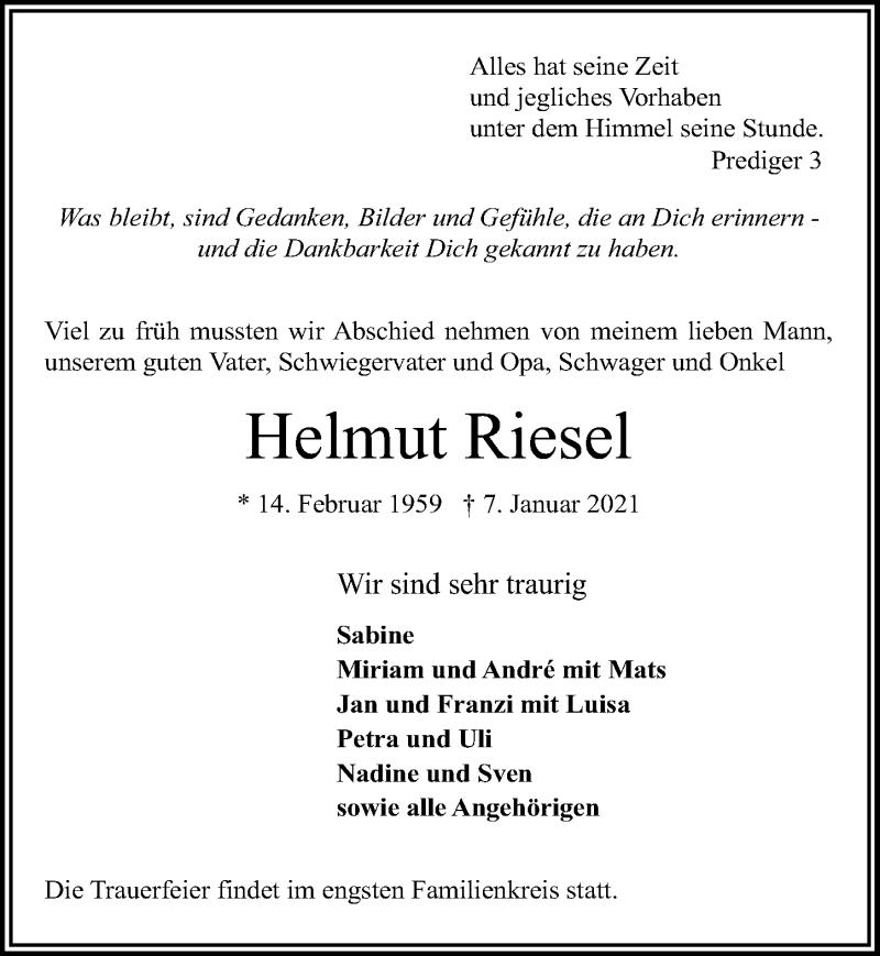Traueranzeige für Helmut Riesel vom 10.01.2021 aus Lübecker Nachrichten