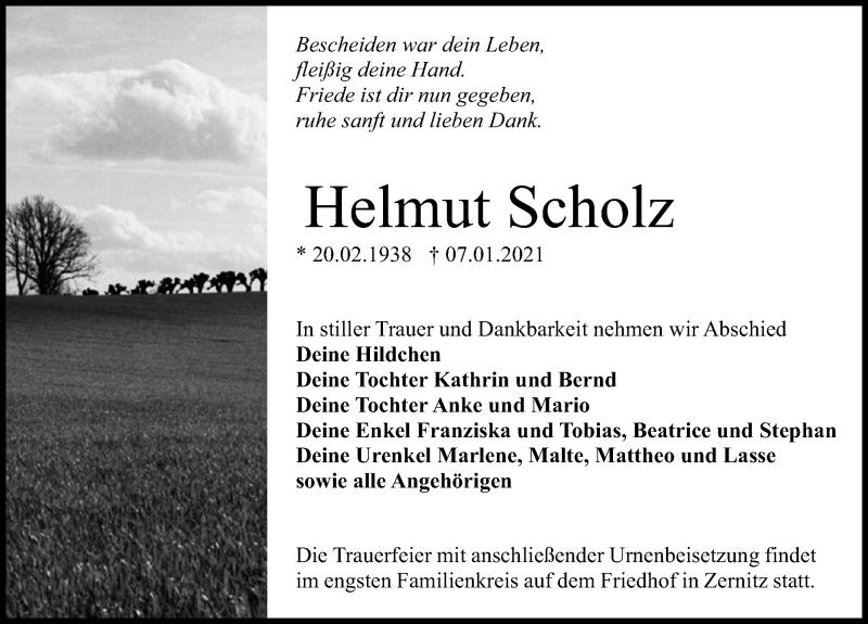 Traueranzeige für Helmut Scholz vom 09.01.2021 aus Märkischen Allgemeine Zeitung