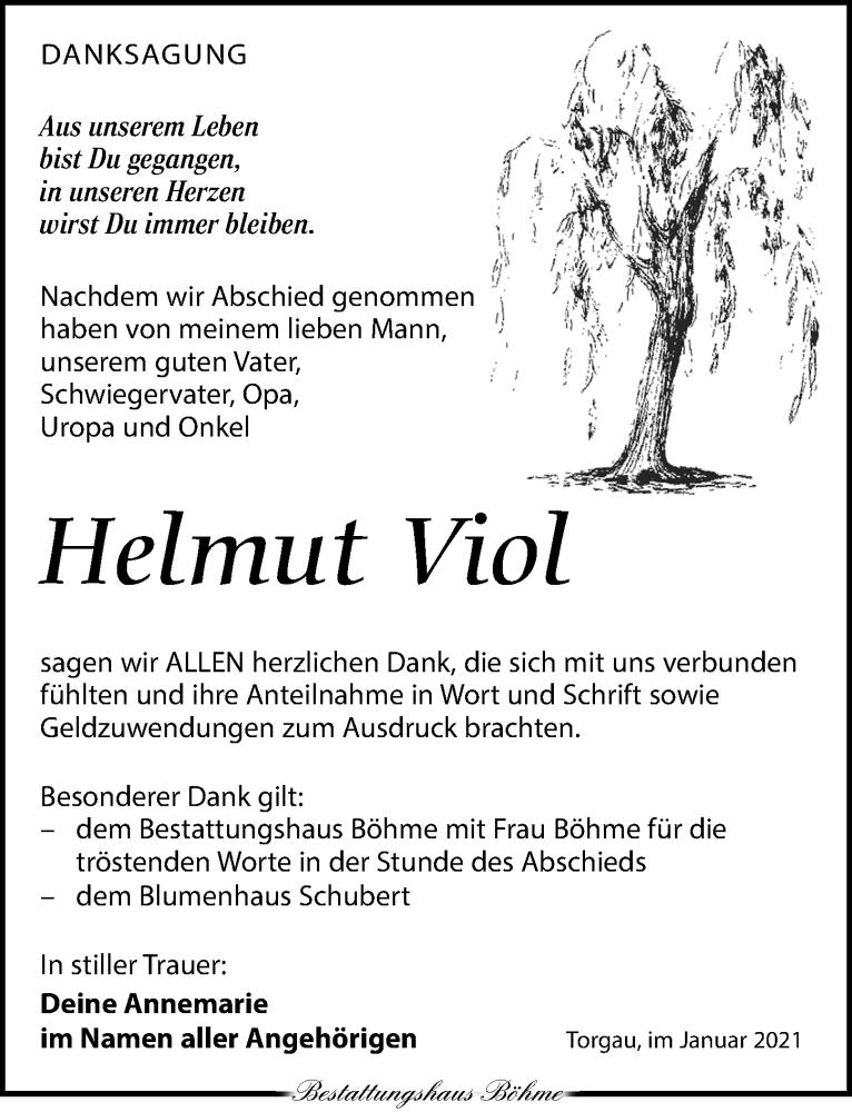 Traueranzeige für Helmut Viol vom 23.01.2021 aus Torgauer Zeitung
