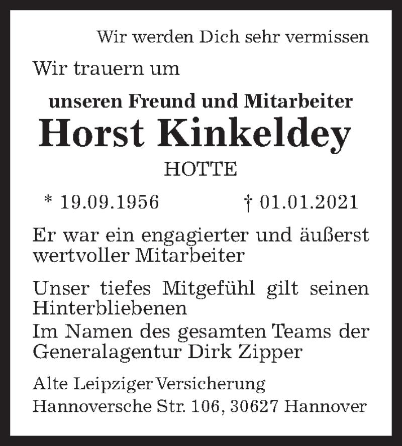 Traueranzeige für Horst Kinkeldey vom 09.01.2021 aus Hannoversche Allgemeine Zeitung/Neue Presse