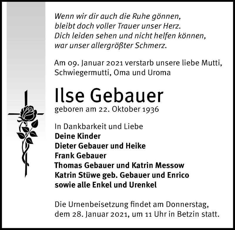 Traueranzeige für Ilse Gebauer vom 16.01.2021 aus Märkischen Allgemeine Zeitung