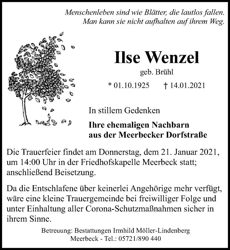 Traueranzeige für Ilse Wenzel vom 16.01.2021 aus Schaumburger Nachrichten