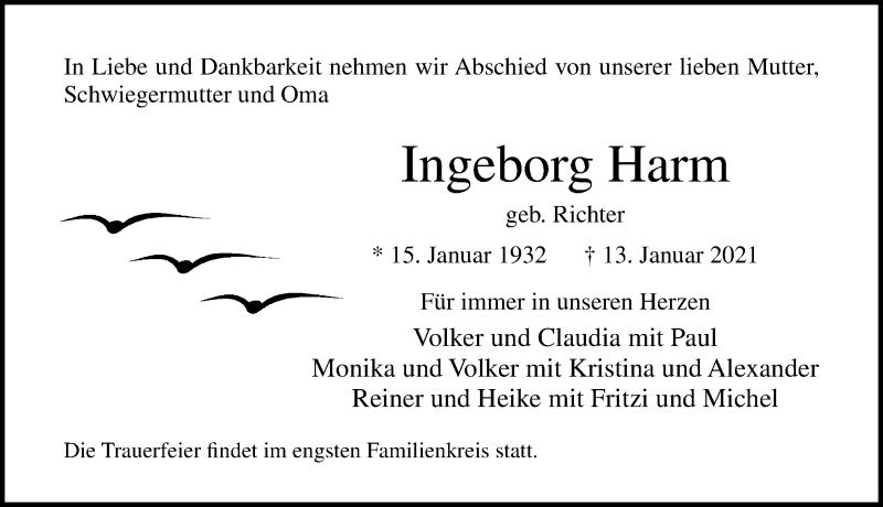 Traueranzeige von  Ingeborg Harm