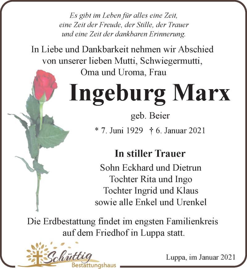Traueranzeige für Ingeburg Marx vom 09.01.2021 aus Leipziger Volkszeitung