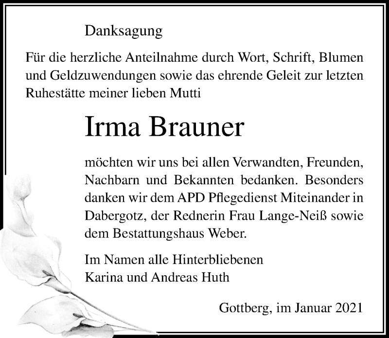 Traueranzeige für Irma Brauner vom 30.01.2021 aus Märkischen Allgemeine Zeitung