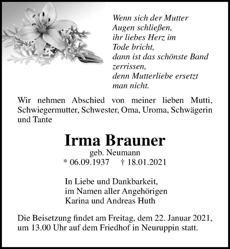 Traueranzeige für Irma Brauner vom 20.01.2021 aus Märkischen Allgemeine Zeitung