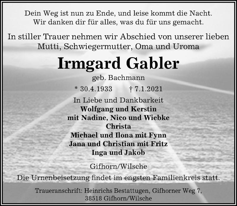 Traueranzeige für Irmgard Gabler vom 14.01.2021 aus Aller Zeitung