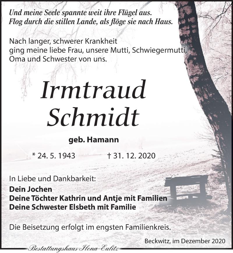 Traueranzeige für Irmtraud Schmidt vom 09.01.2021 aus Torgauer Zeitung
