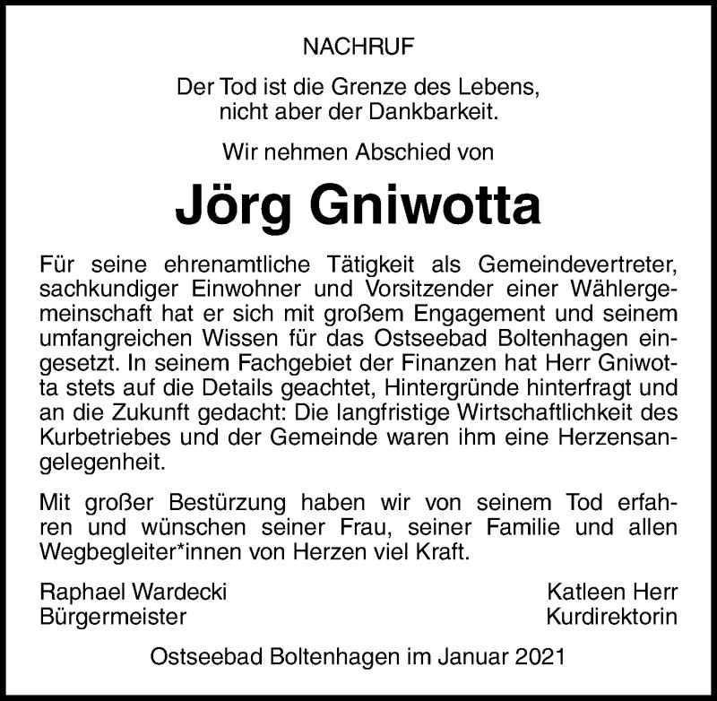 Traueranzeige für Jörg Gniwotta vom 23.01.2021 aus Ostsee-Zeitung GmbH