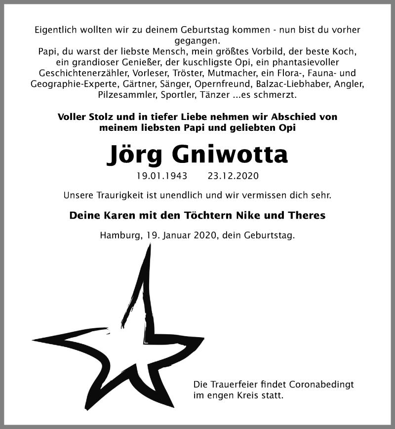 Traueranzeige für Jörg Gniwotta vom 20.01.2021 aus Ostsee-Zeitung GmbH