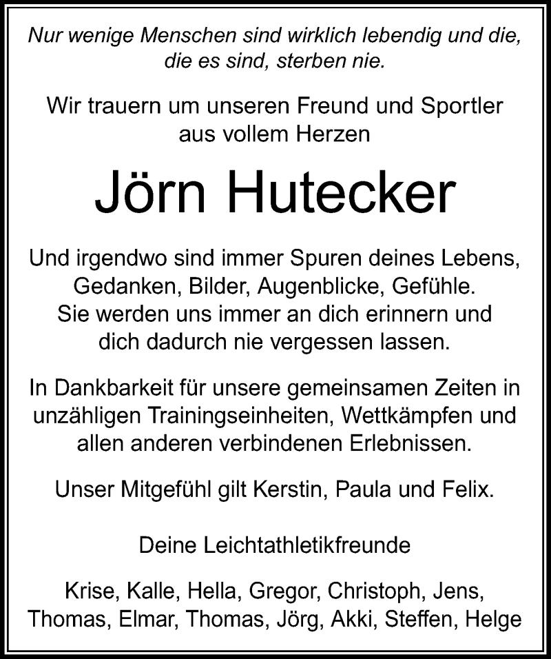 Traueranzeige für Jörn Hutecker vom 09.01.2021 aus Göttinger Tageblatt