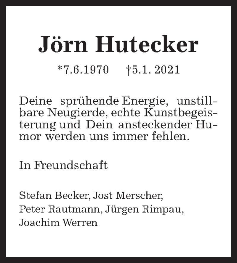 Traueranzeige für Jörn Hutecker vom 12.01.2021 aus Hannoversche Allgemeine Zeitung/Neue Presse