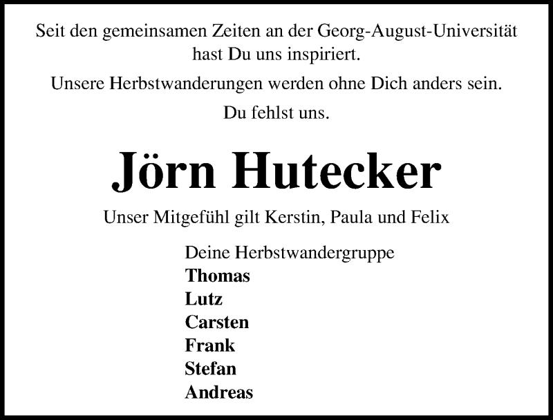 Traueranzeige für Jörn Hutecker vom 13.01.2021 aus Göttinger Tageblatt
